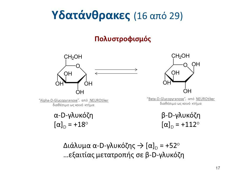 Υδατάνθρακες (16 από 29) Πολυστροφισμός α-D-γλυκόζη [α]D = +18o